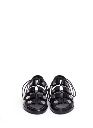 Front View - Click To Enlarge - Alexander Wang  - 'Patricia' rivet lace-up leather flat sandals