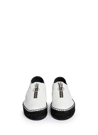 Front View - Click To Enlarge - ALEXANDERWANG - Devon' zip leather espadrille sneakers