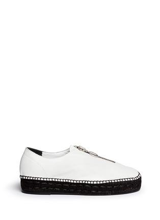 Main View - Click To Enlarge - ALEXANDERWANG - Devon' zip leather espadrille sneakers