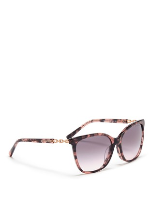 Figure View - Click To Enlarge - Michael Kors - Chain link tortoiseshell acetate sunglasses