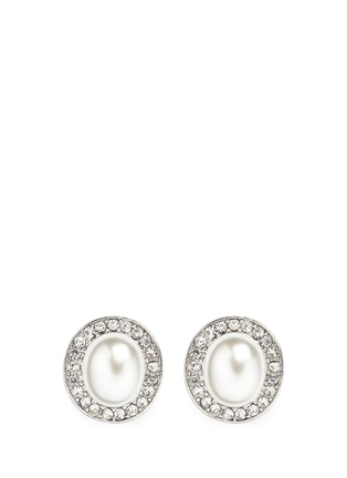 Main View - Click To Enlarge - Kenneth Jay Lane - Crystal pavé faux pearl stud earrings