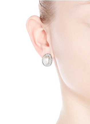 Figure View - Click To Enlarge - Kenneth Jay Lane - Crystal pavé faux pearl stud earrings