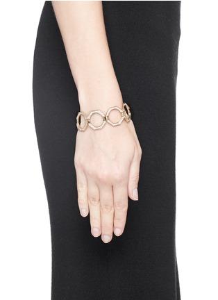 Detail View - Click To Enlarge - Lynn Ban - 'Reverso' diamond 14k yellow gold octagonal convertible bracelet ring