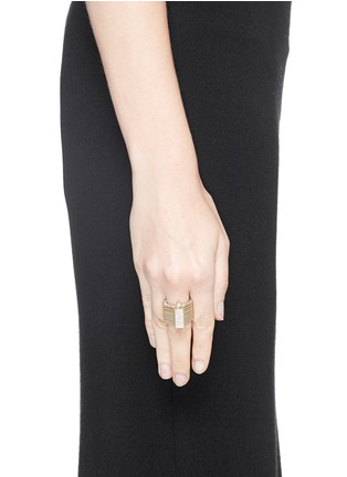 Figure View - Click To Enlarge - Lynn Ban - 'Reverso' diamond 14k yellow gold octagonal convertible bracelet ring