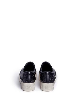 Back View - Click To Enlarge - Ash - 'Kripton' skeletal detail stud leather skate slip-ons