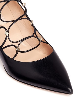 Detail View - Click To Enlarge - Valentino - 'Rockstud' caged lace-up leather pumps