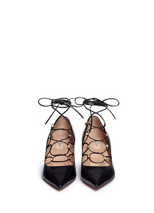 Front View - Click To Enlarge - Valentino - 'Rockstud' caged lace-up leather pumps