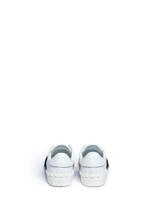 Back View - Click To Enlarge - VALENTINO - Open leather slip-on sneakers