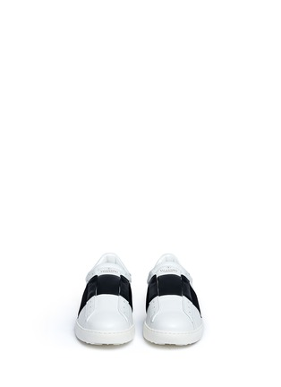 Figure View - Click To Enlarge - VALENTINO - Open leather slip-on sneakers