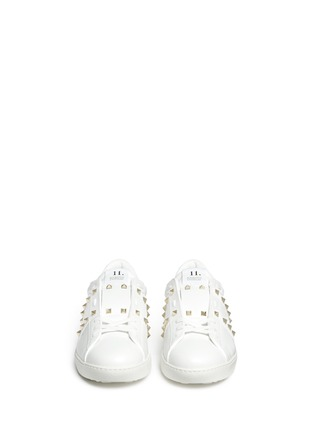Front View - Click To Enlarge - Valentino - 'Rockstud Untitled 11' leather sneakers