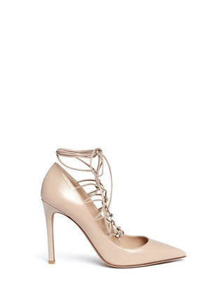 Main View - Click To Enlarge - Valentino - 'Rockstud' caged lace-up leather pumps