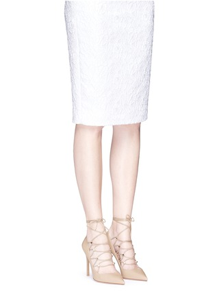 Figure View - Click To Enlarge - Valentino - 'Rockstud' caged lace-up leather pumps