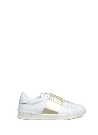 Main View - Click To Enlarge - Valentino - Colourblock leather stud sneakers