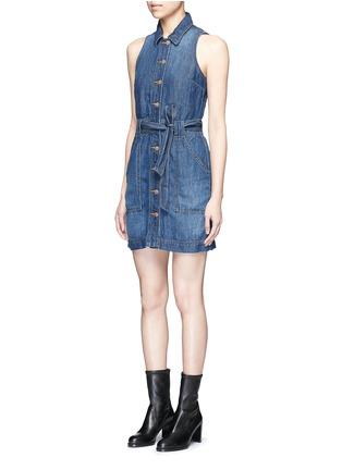 Front View - Click To Enlarge - J Brand - 'Caressa' belted denim dress