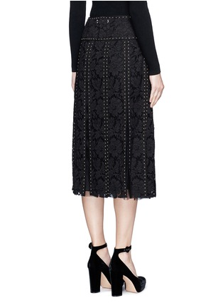 Back View - Click To Enlarge - Valentino - Stud floral guipure lace godet skirt