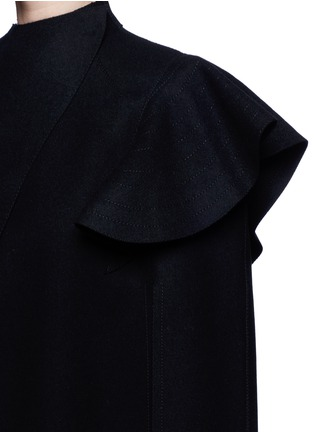 Detail View - Click To Enlarge - Valentino - Quilted ruffle trim virgin wool cape jacket