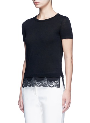 Front View - Click To Enlarge - Theory - 'Lilany' scalloped lace hem wool sweater