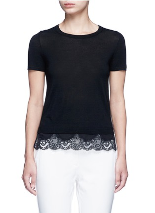 Main View - Click To Enlarge - Theory - 'Lilany' scalloped lace hem wool sweater