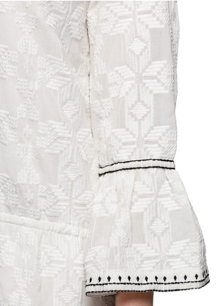 Detail View - Click To Enlarge - Talitha - 'Ria' neck tie geometric embroidery dress