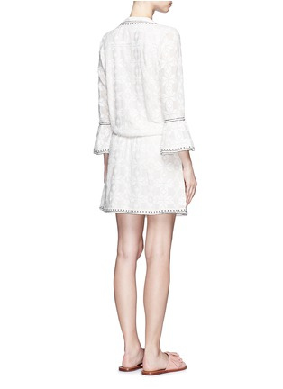 Back View - Click To Enlarge - Talitha - 'Ria' neck tie geometric embroidery dress