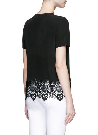 Back View - Click To Enlarge - Equipment - 'Riley' floral lace hem silk T-shirt