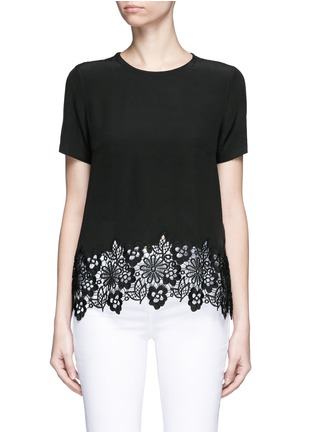 Main View - Click To Enlarge - Equipment - 'Riley' floral lace hem silk T-shirt
