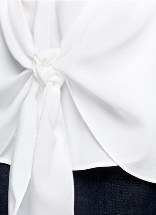 Detail View - Click To Enlarge - Theory - 'Zallane' tie front sleeveless silk shirt
