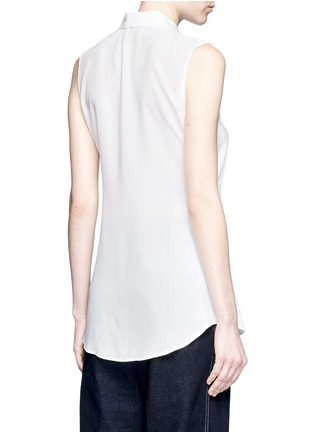 Back View - Click To Enlarge - Theory - 'Zallane' tie front sleeveless silk shirt