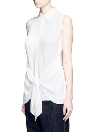 Front View - Click To Enlarge - Theory - 'Zallane' tie front sleeveless silk shirt