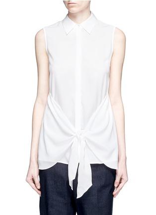 Main View - Click To Enlarge - Theory - 'Zallane' tie front sleeveless silk shirt