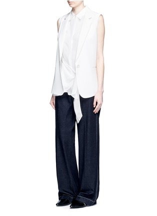 Figure View - Click To Enlarge - Theory - 'Zallane' tie front sleeveless silk shirt
