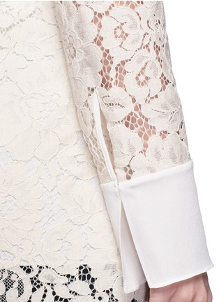Detail View - Click To Enlarge - Lanvin - Silk cuff floral guipure lace top