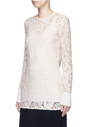 Front View - Click To Enlarge - Lanvin - Silk cuff floral guipure lace top