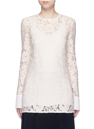 Main View - Click To Enlarge - Lanvin - Silk cuff floral guipure lace top