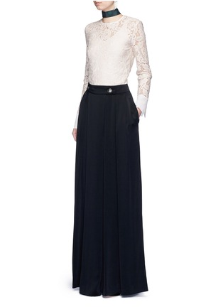 Figure View - Click To Enlarge - Lanvin - Silk cuff floral guipure lace top