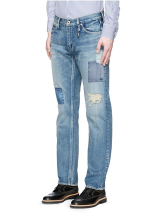 Front View - Click To Enlarge - FDMTL - 'Trace Case Study 22' sashiko boro patchwork jeans