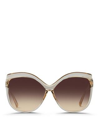 Main View - Click To Enlarge - LINDA FARROW VINTAGE - Oversize square cat eye acetate sunglasses