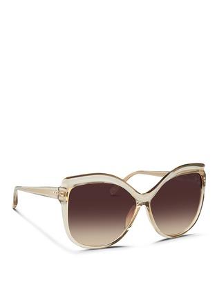 Figure View - Click To Enlarge - LINDA FARROW VINTAGE - Oversize square cat eye acetate sunglasses