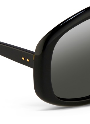 Detail View - Click To Enlarge - LINDA FARROW - Oversize pentagon acetate sunglasses