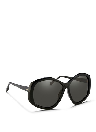 Figure View - Click To Enlarge - LINDA FARROW - Oversize pentagon acetate sunglasses