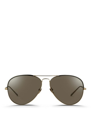 Main View - Click To Enlarge - Linda Farrow - Coated browline titanium aviator sunglasses