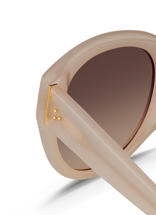 Detail View - Click To Enlarge - Linda Farrow - Oversize round cat eye acetate gradient sunglasses