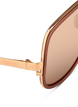 Detail View - Click To Enlarge - Linda Farrow - Aluminium rim oversize titanium sunglasses