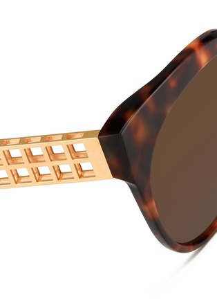 Detail View - Click To Enlarge - Linda Farrow - 22k gold caged titanium temple oversize tortoiseshell acetate sunglasses