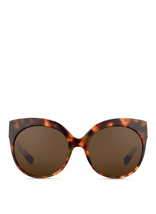 Main View - Click To Enlarge - Linda Farrow - 22k gold caged titanium temple oversize tortoiseshell acetate sunglasses