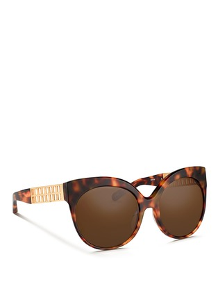 Figure View - Click To Enlarge - Linda Farrow - 22k gold caged titanium temple oversize tortoiseshell acetate sunglasses