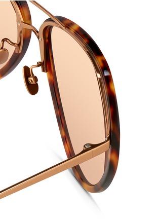 Detail View - Click To Enlarge - LINDA FARROW VINTAGE - Titanium temple acetate aviator sunglasses