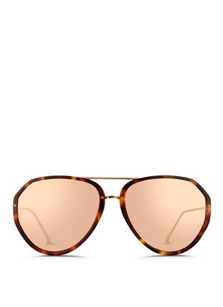 Main View - Click To Enlarge - LINDA FARROW VINTAGE - Titanium temple acetate aviator sunglasses