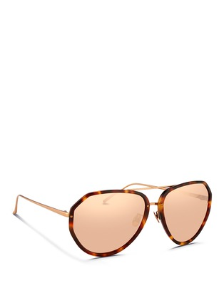 Figure View - Click To Enlarge - LINDA FARROW VINTAGE - Titanium temple acetate aviator sunglasses