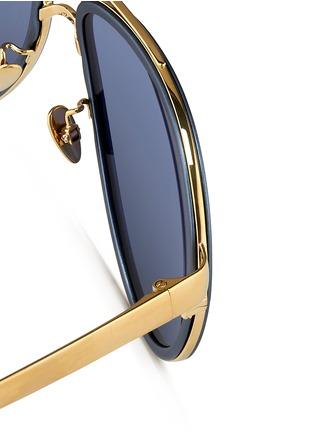 Detail View - Click To Enlarge - Linda Farrow - Inset aluminium rim titanium aviator mirror sunglasses